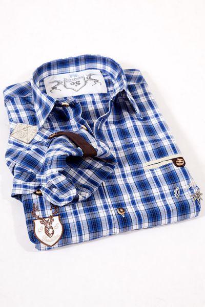 Trachtenhemd Landhaus in blau weiß kariert