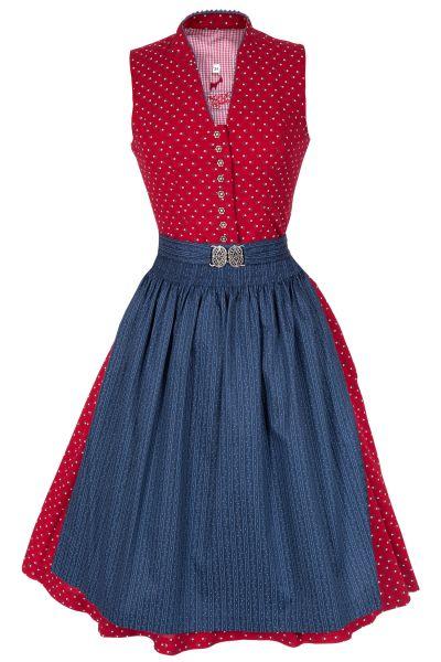 Midi Dirndl hochgeschlossen in rot und blau aus Baumwolle