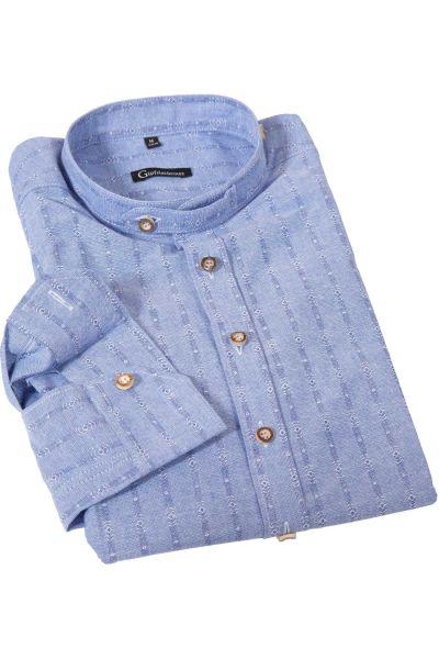 Trachtenhemd in blau mit Stehkragen