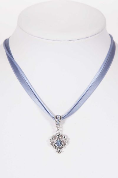 Trachtenkette mit Satinband in taubenblau