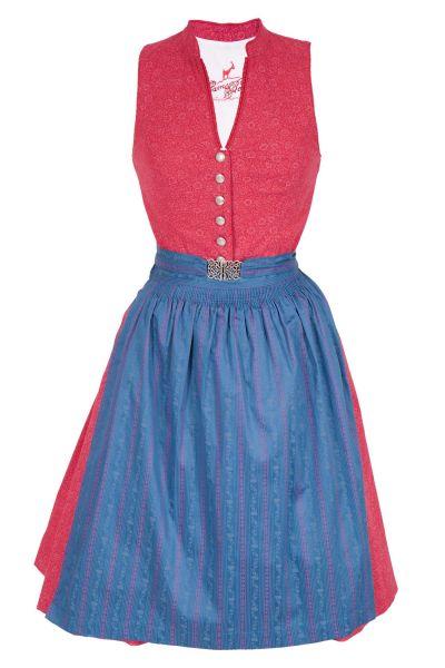 Mini Dirndl Veronika in blau und rot hochgeschlossen