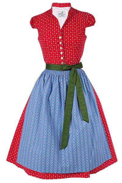 Traditionelles Midi Dirndl Paloma in rot und hellblau aus Baumwolle