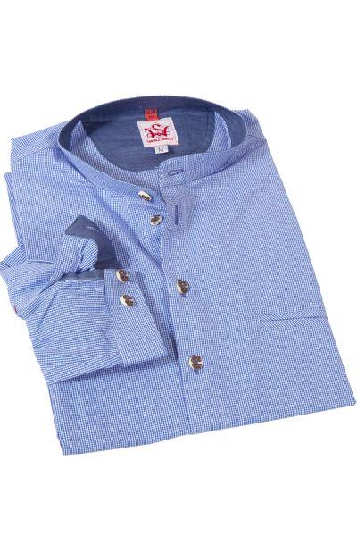 Trachtenhemd Kreuztal in blau weiß kariert