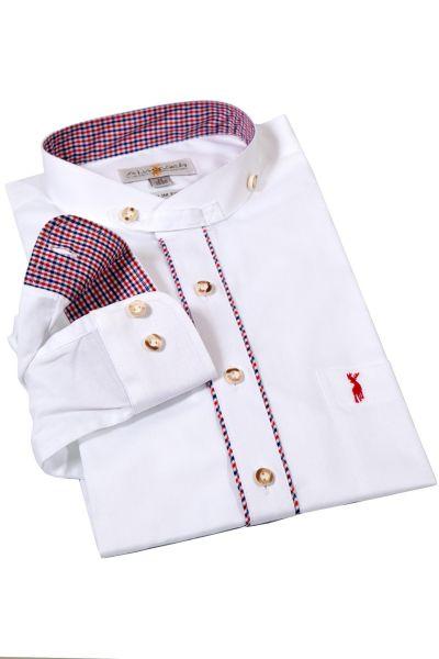 Trachtenhemd in weiß mit Stehkragen und Karos