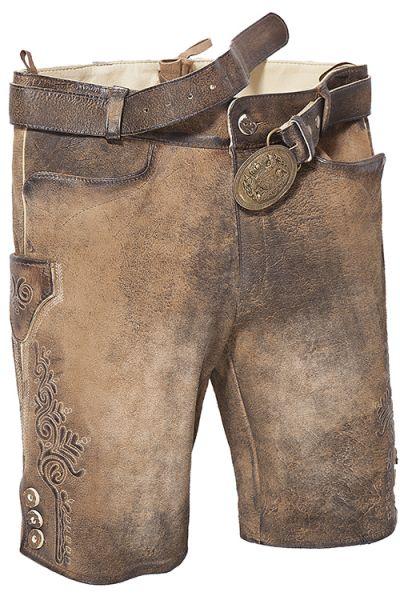 kurze Lederhose Faelo in stein used ohne Hosenlatz mit Gürtel ganz