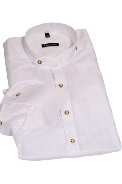 Trachtenhemd in weiß mit Struktur und Stehkragen