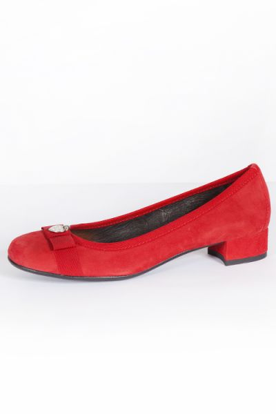 Trachten Pumps für Damen in rot aus Leder mit Schleife