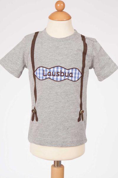Trachtenshirt Lausbua grau für Jungs mit Hosenträger