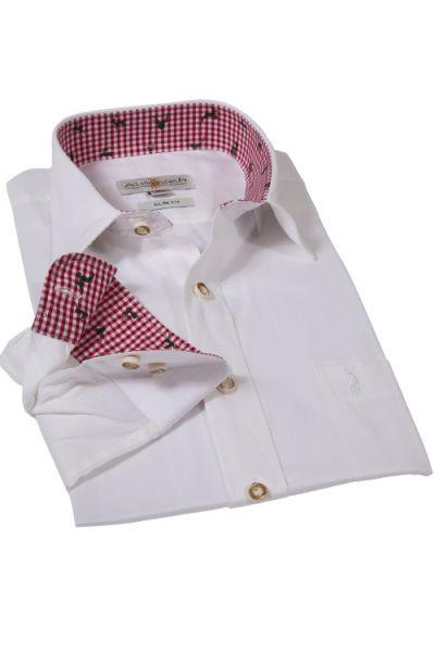 Trachtenhemd in weiß und rot von Almsach mit Slim Fit Passform