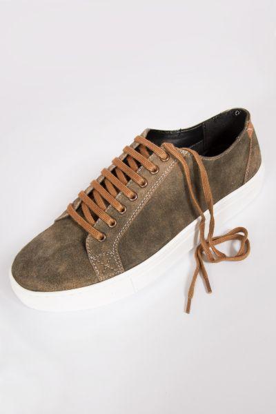 Herren Trachten Sneaker aus Leder in mittelbraun