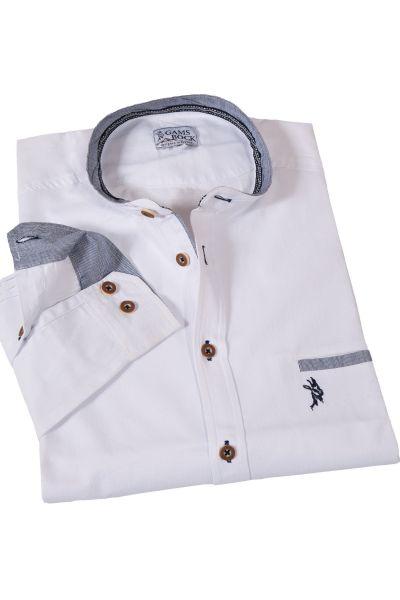 Trachtenhemd mit Stehkragen mit nachtblauen Details