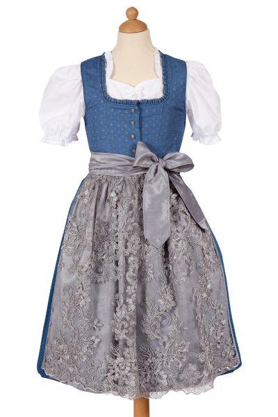 Kinder Dirndl Rosalie in blau und silber