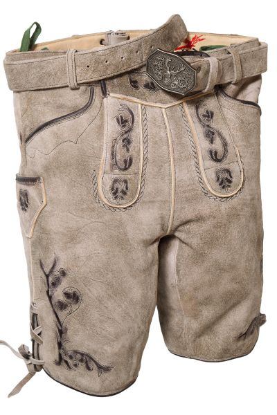 Kurze Lederhose in stein grau mit Gürtel und Bandln