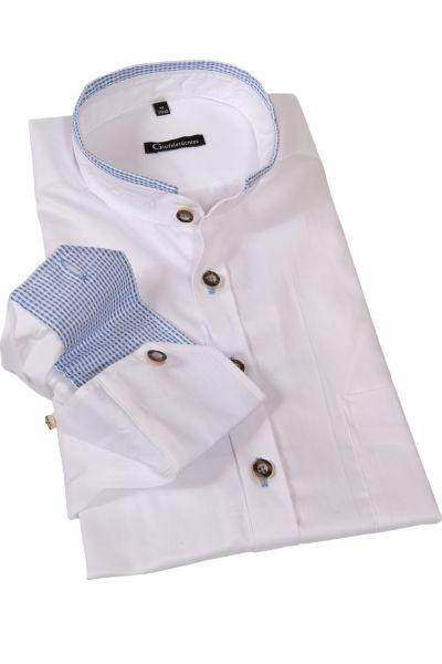 Trachtenhemd edel in weiß mit blauem Stehkragen