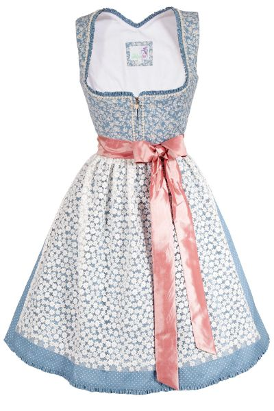 Mini Dirndl Mia in blau mit Perlen und Spitzenschürze