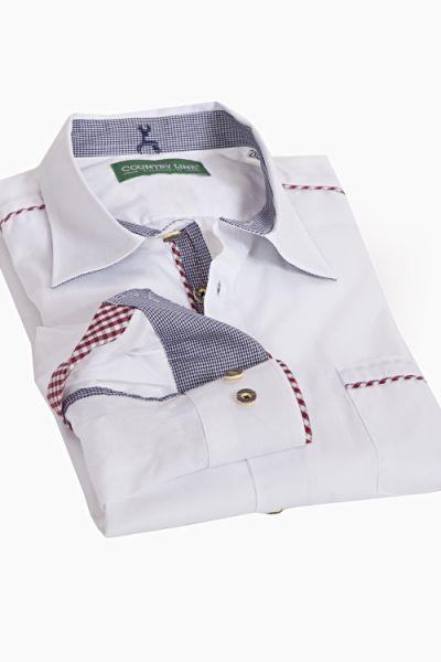Trachtenhemd elegant weiß mit rot weiß vichykaro 1