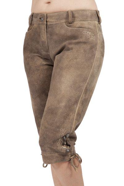 Damen Lederhose Ekaterina in hellbraun ohne Latz knielang
