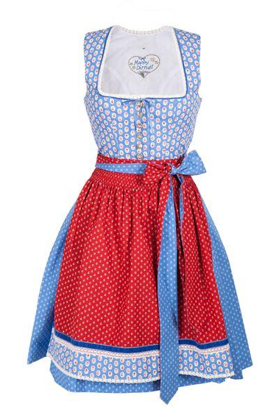 Mini Dirndl in blau mit Retro Muster und Knöpfen aus Baumwolle