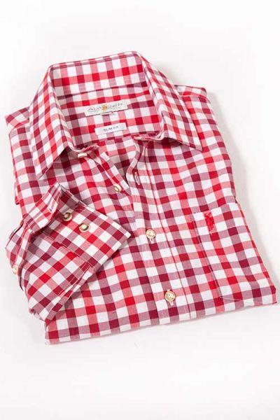 Trachtenhemd karo rot und bordeaux von Almsach