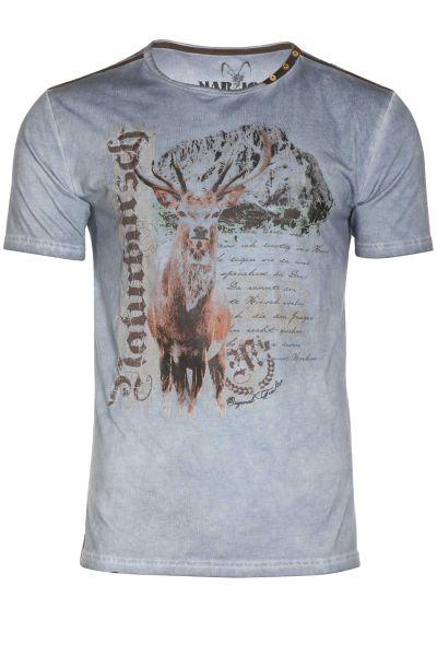 Trachten Shirt in jeansblau mit Hirsch für Herren