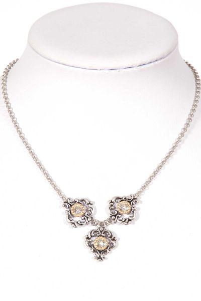 Trachtenkette in silber mit drei Ornamenten