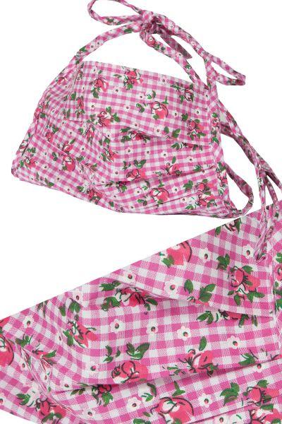 Trachten Gesichtsmaske in pink kariert mit Rosen