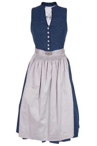 Midi Dirndl Veronika aus Baumwolle in blau und grau