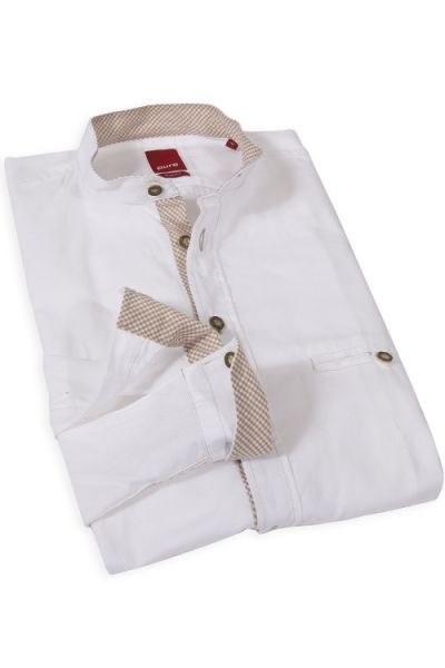 Trachtenhemd von Pure in weiß, slimfit mit Brusttasche