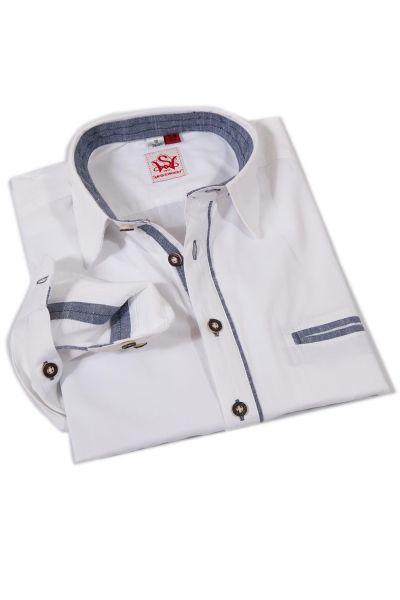 Trachtenhemd Gimaldi in weiß mit jeansblau