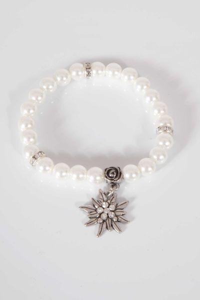 Trachten Armband aus weißen Perlen mit Edelweiss
