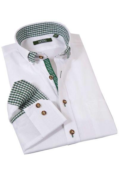 Trachtenhemd edel weiß mit tannengrün von arido