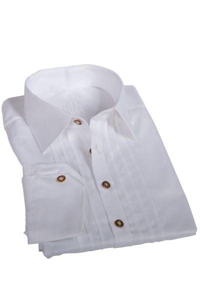 Trachtenhemd weiß mit Biesen & Hornknöpfe