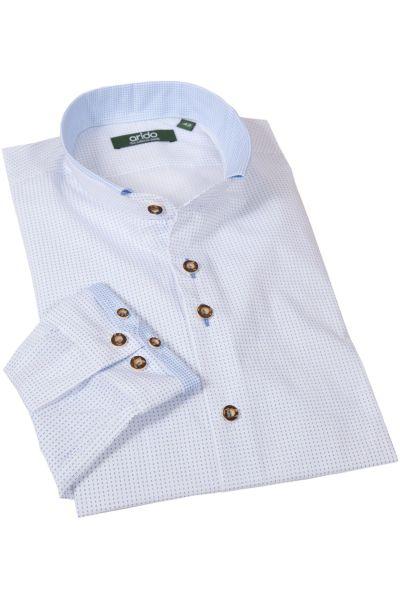 arido Trachtenhemd modern in weiß mit blauem Muster