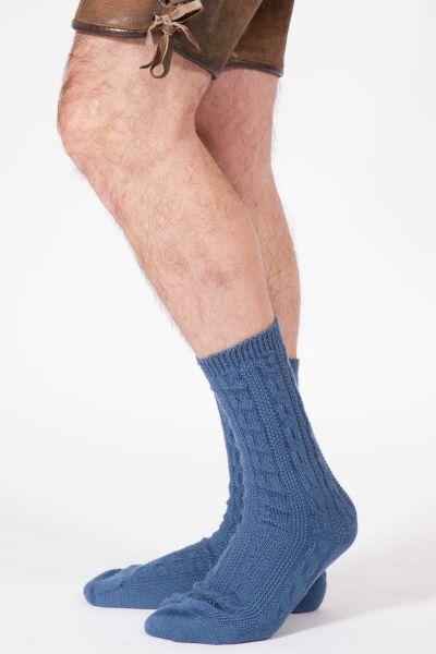 Herren Trachtensocken in blau / stahlblau