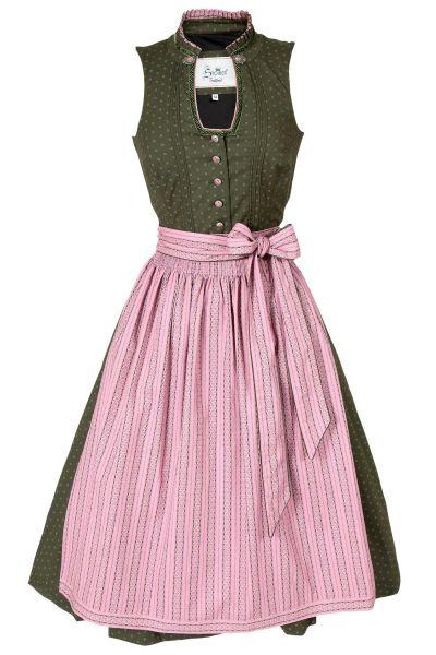 Midi Dirndl in olivgrün aus Baumwolle mit rosa