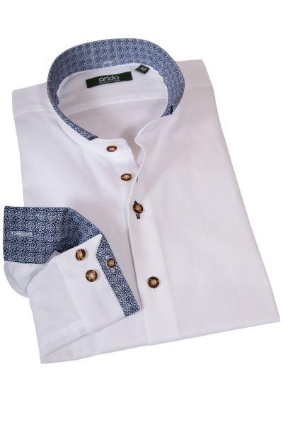 Exklusives Trachtenhemd in weiß mit blauen Muster und Langarm