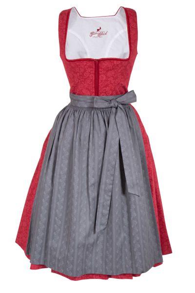 Midi Dirndl Emily in rot und grau aus Baumwolle