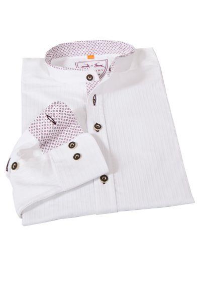 Trachtenhemd in weiß strukturiert mit bordeaux