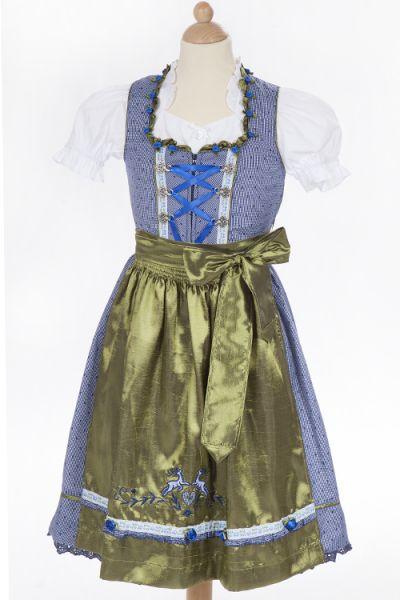 Kinderdirndl Krüger blaue Rosen oliv 1