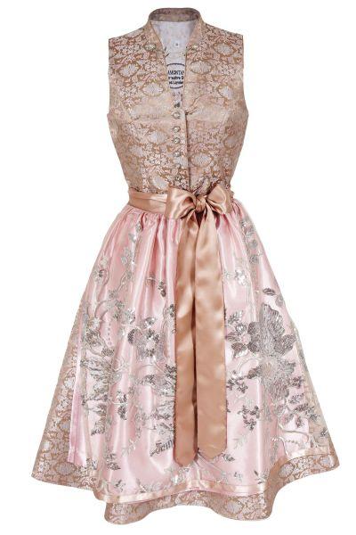 Designer Dirndl mit Glamour in rosa und beige
