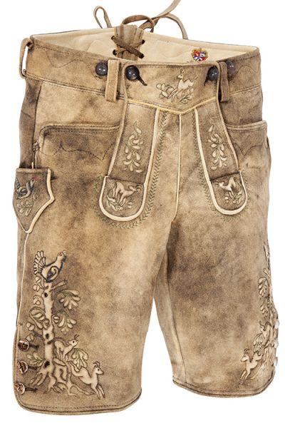 Hirschlederne kurze Lederhose von Meindl in braun antik