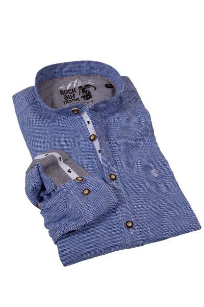 Herren Trachtenhemd aus Leinen in dunkelblau