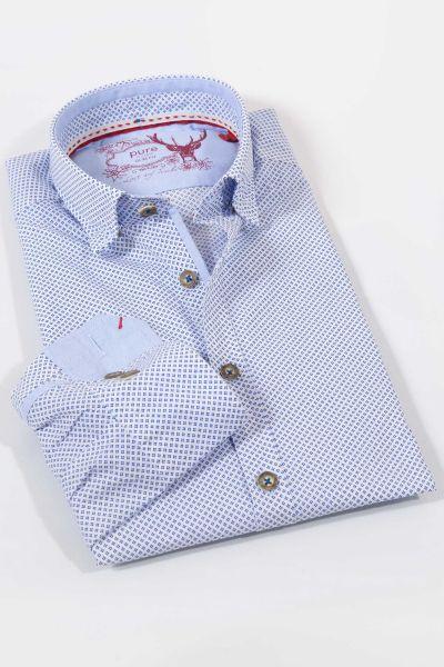 Elegantes Trachtenhemd in weiß und blau mit Punkten