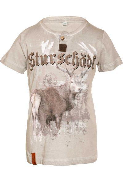 Trachten Shirt Sturschädl in grau mit Stickerei