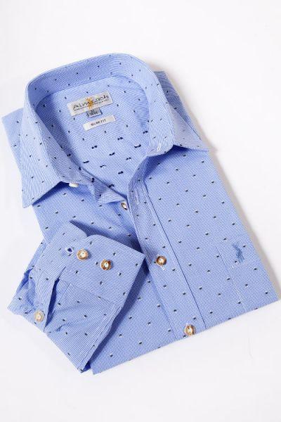 Herren Trachtenhemd von Almsach in hellblau weiß kariert