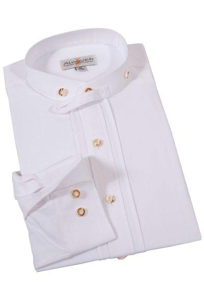 Trachtenhemd in weiß mit Biesen und Stehkragen