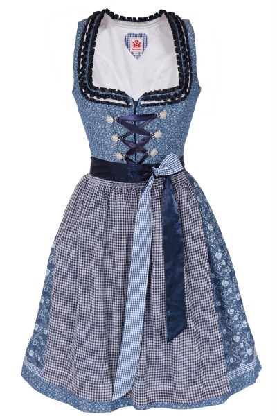 Mini Dirndl Kimi in blau mit Chiffonschürze