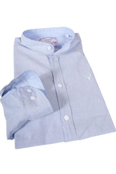 Slim Fit Trachtenhemd mit Streifen weiß und hellblau