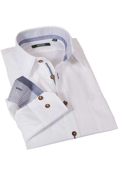 Trachtenhemd in weiß mit blauem Heftstich von arido