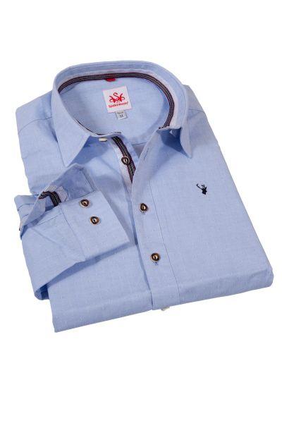 Trachtenhemd in hellblau mit Muster Slim Fit